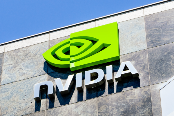 Nvidia company logo on facade of building.